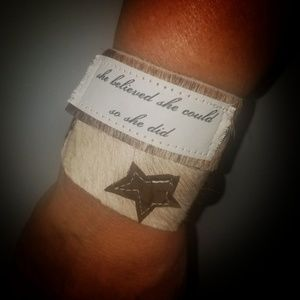 Genuine Leather Hair on Hide Cuff Bracelet Quote
